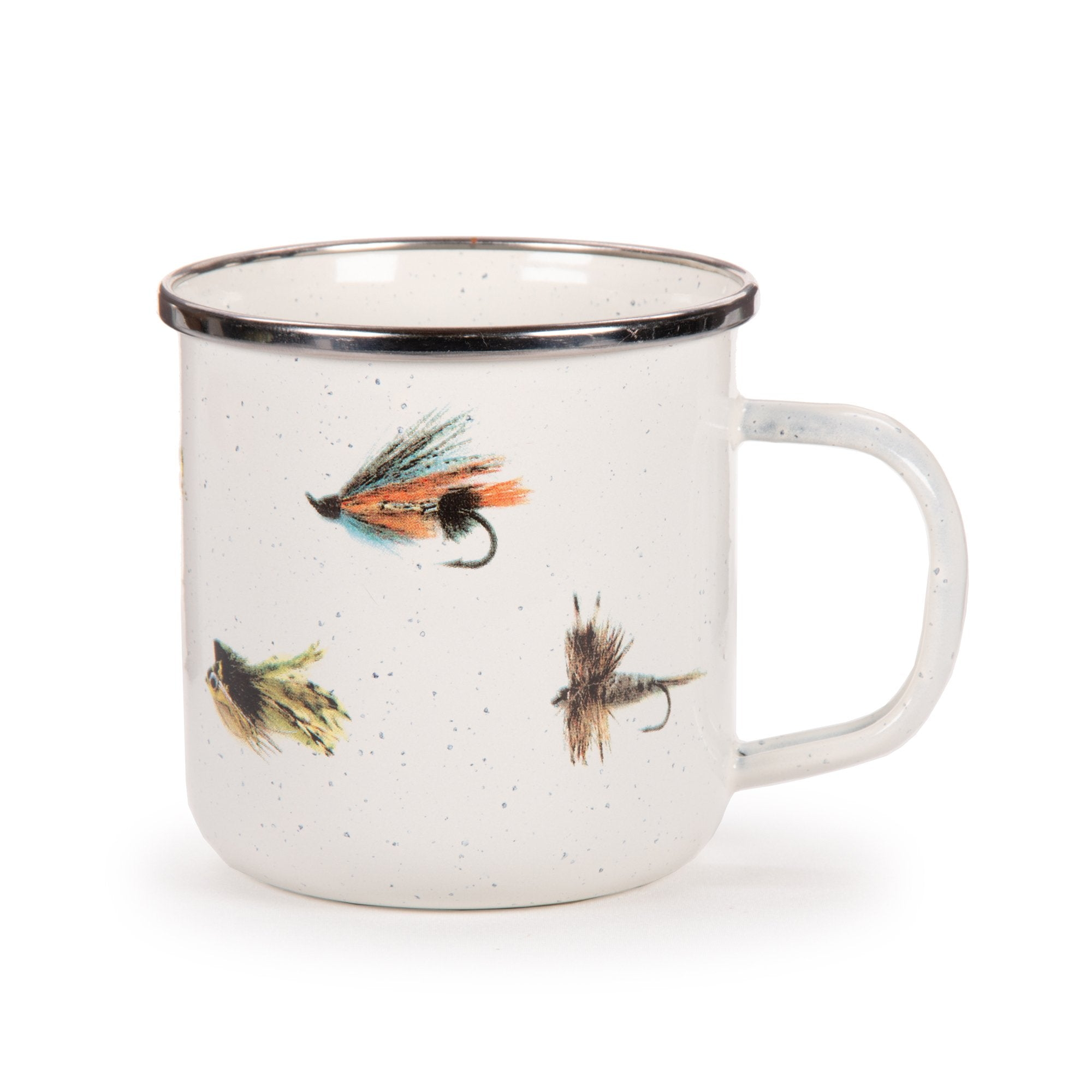 FF28S4 - Set of 4 - Fishing Fly - Enamelware - Grande Mugs by Golden Rabbit