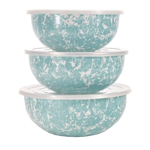 GL54 Seaglass Teal Swirl Mixing Bowls