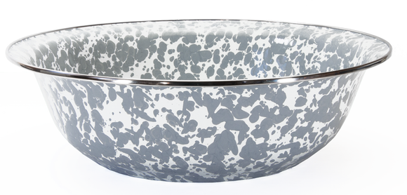 GY03-  Enamelware - Grey Swirl Pattern - 13.5 Inch Round Serving Basin by Golden Rabbit