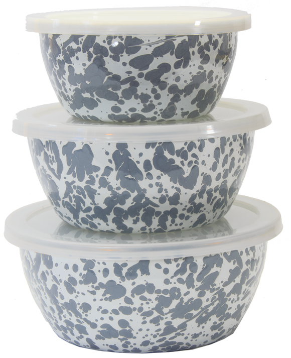 GY30 - Enamelware - Grey Swirl Pattern - Nesting Bowls by Golden Rabbit