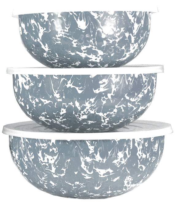 GY54 - Enamelware - Grey Swirl Pattern - Mixing Bowls by Golden Rabbit
