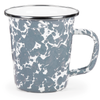 GY66 - Enamelware - Grey Swirl Pattern - 16 Ounce Latte Mug by Golden Rabbit