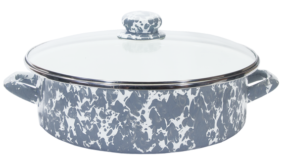 GY79 - Enamelware - Grey Swirl 5 Quart Small Saute Pan by Golden Rabbit