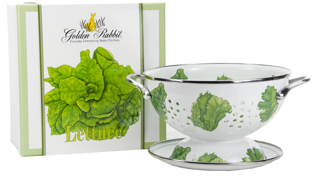 "LT107 - Lettuce Pattern - 1 Quart Colander with 8"" Matching Drain Plate"