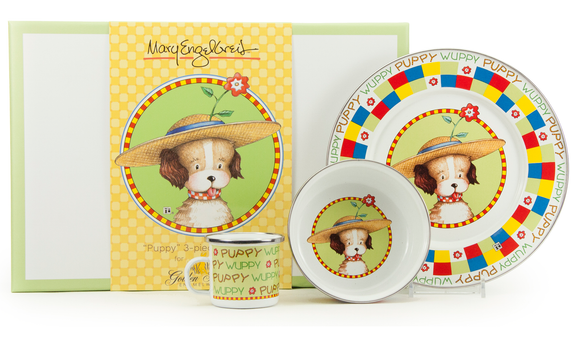 Golden Rabbit - Enamelware Puppy Pattern Child Dinner Set