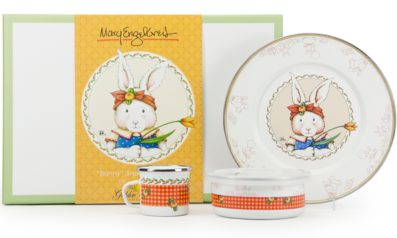 Golden Rabbit - Enamelware Rabbit Pattern Child Dinner Set