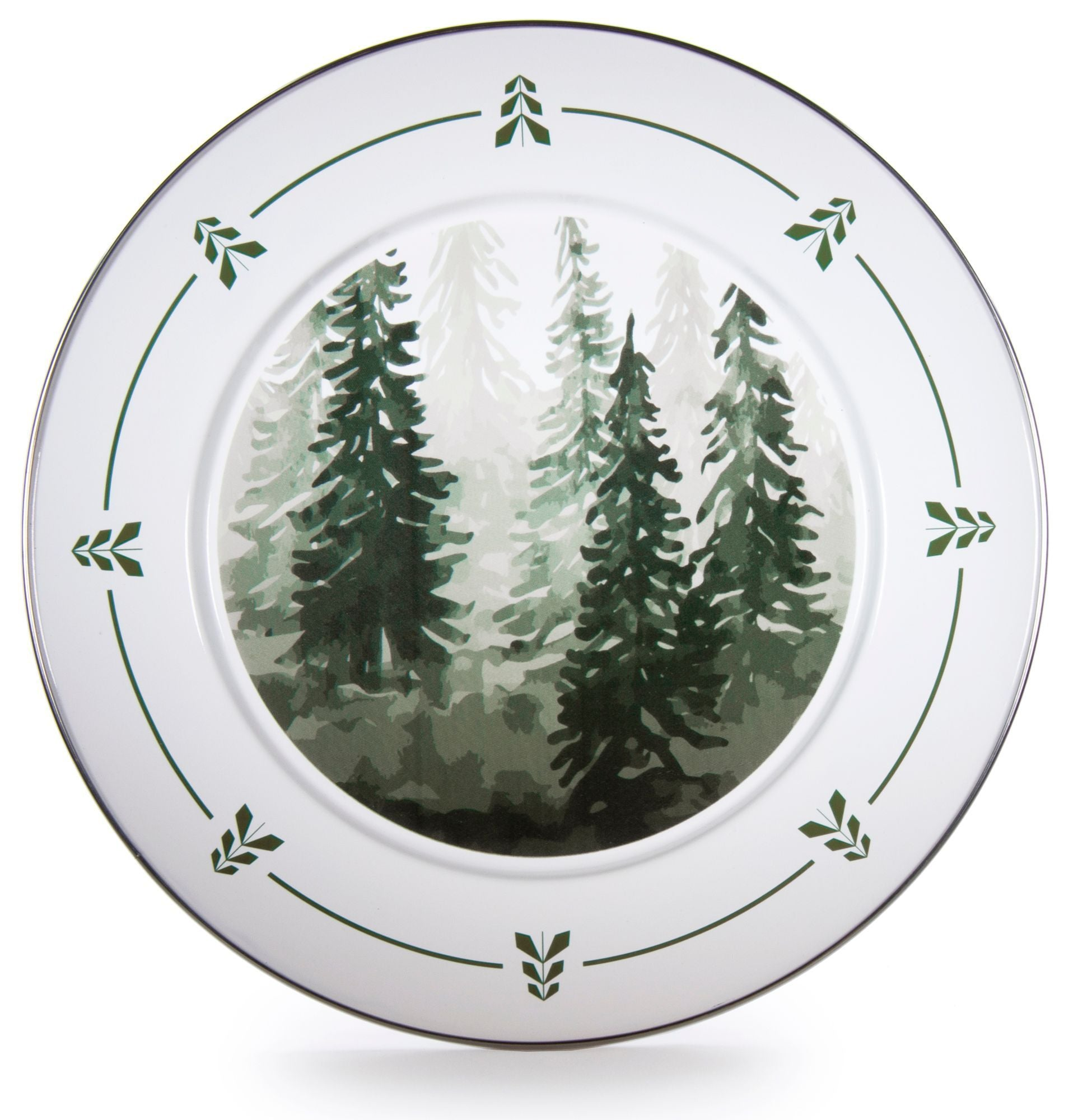 FT26S2 - Set of 2 - Enamelware Forest Trees - Chargers by Golden Rabbit