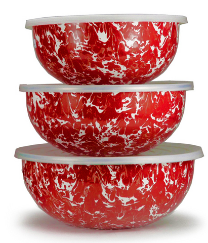 RD54 Red Swirl Mixing Bowls