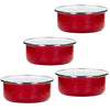 RR60S4 - Set of 4 - Enamelware Solid Red - Soup Bowls