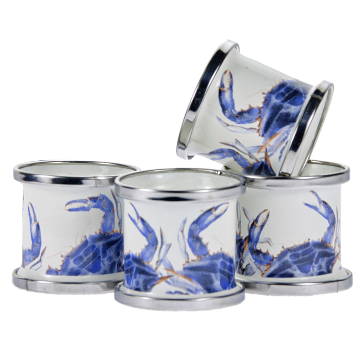 SE74 - Blue Crab Pattern -  Napkin Rings-Set of 4 by Golden Rabbit