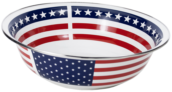 SS03 - Stars and Strips Pattern -  Enamelware 13.5 Inch Round Serving Basin