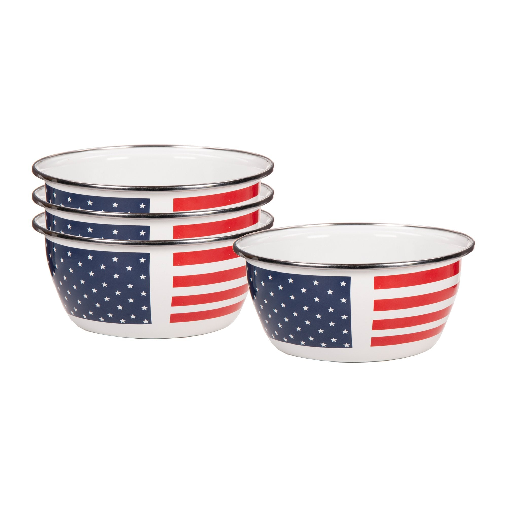 SS61S4 - Set of 4 - Enamelware Stars and Stripes - Salad Bowls