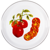 TM21 - Tomatoes Pattern - Medium Enamelware Tray - by Golden Rabbit