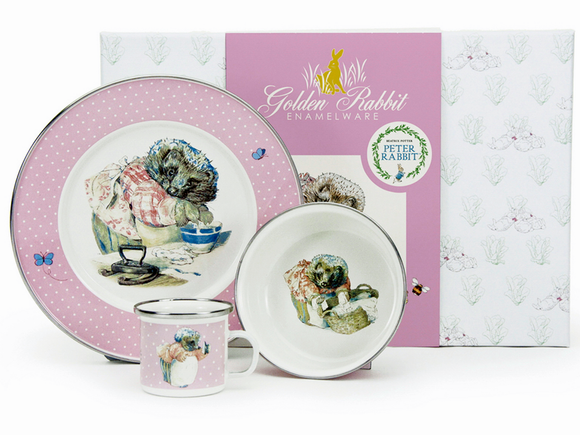 Golden Rabbit - Enamelware Mrs Tiggywinkle Pattern Child Dinner Set