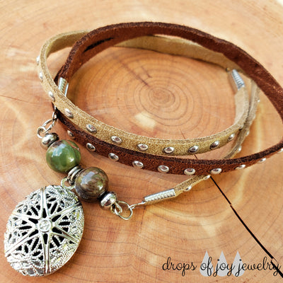 Leather Wrap Diffuser Bracelet - Tan & Brown