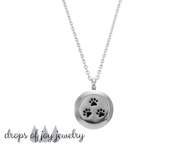 Paw Print Diffuser Necklace, Essential Oil Aromatherapy Jewelry