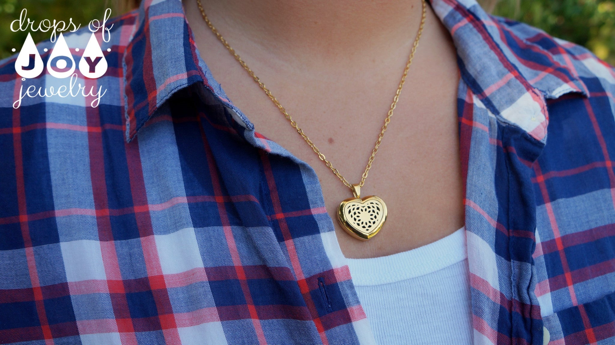 Diffuser Necklace - Stainless Steel Gold Heart - Drops of Joy Jewelry - 2