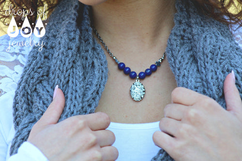 Diffuser Necklace - Lapis Lazuli - Drops of Joy Jewelry - 2