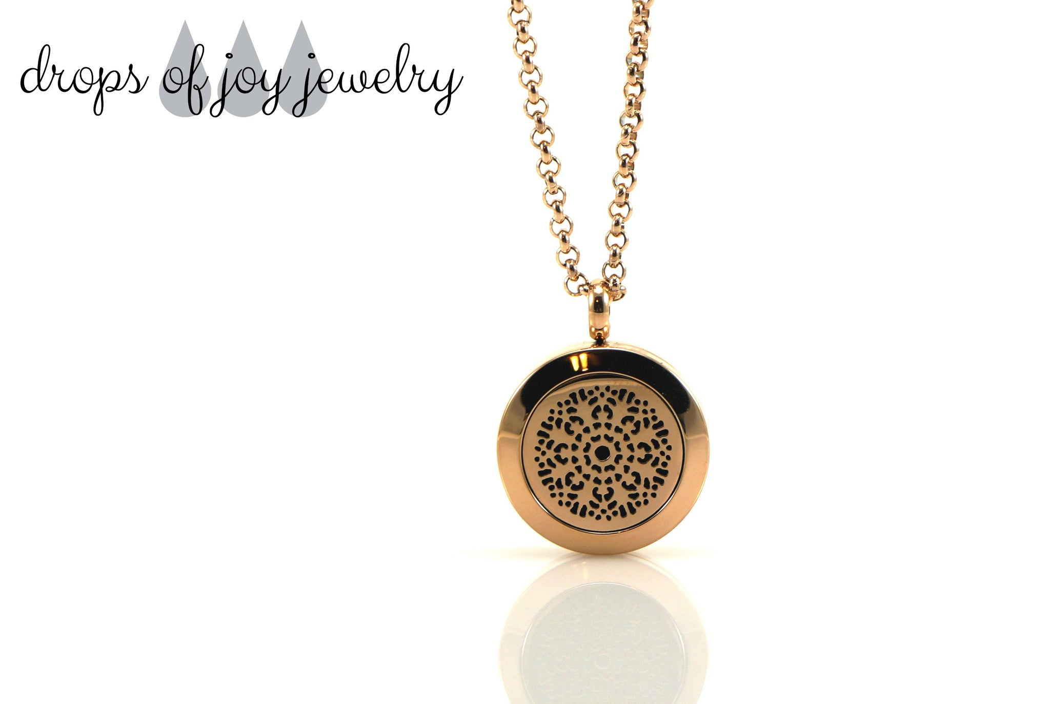 Diffuser Necklace - Rose Gold Flower - Drops of Joy Jewelry - 1