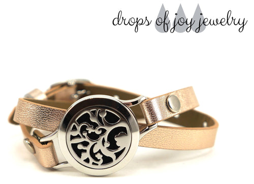 Diffuser Bracelet - Rose Gold Leather Wrap - Drops of Joy Jewelry - 1