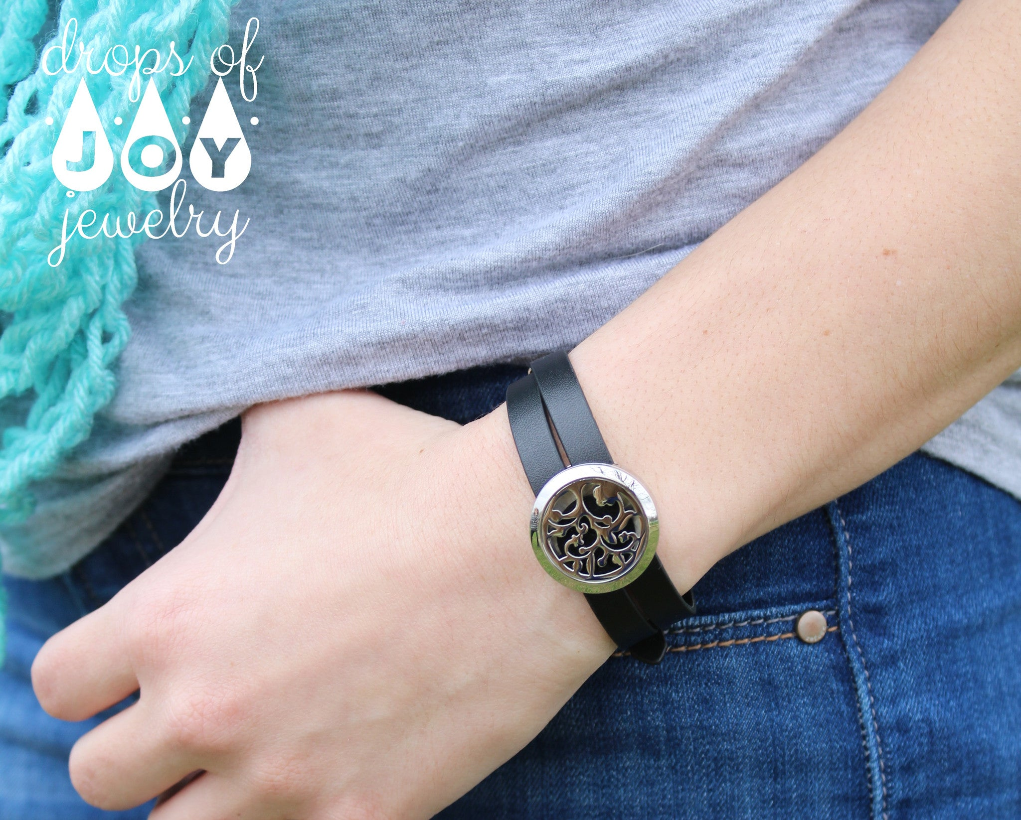 Leather Wrap Diffuser Bracelet - Black - Drops of Joy Jewelry - 2