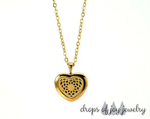 Diffuser Necklace - Stainless Steel Gold Heart - Drops of Joy Jewelry - 1