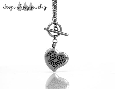 Diffuser Necklace - Stainless Steel Heart Toggle - Drops of Joy Jewelry - 1