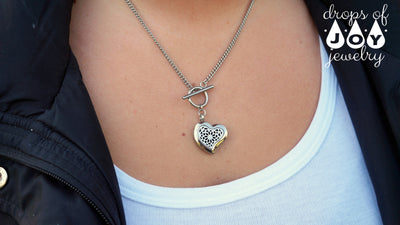 Diffuser Necklace - Stainless Steel Heart Toggle - Drops of Joy Jewelry - 2