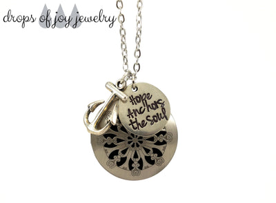 Diffuser Necklace - Hope Anchors the Soul - Drops of Joy Jewelry - 1