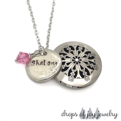 Custom Diffuser Necklace - add your chosen hand-stamped word or phrase and pick your selected Svarvosky crystal color.