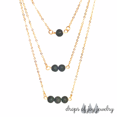 3-Tiered Lava Gold Diffuser Necklace