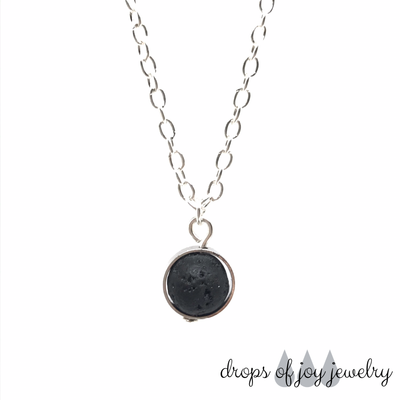Round Lava Diffuser Necklace - Silver or Gold