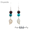 Diffuser Earrings - Lava Stone Leaf (Stone Options)