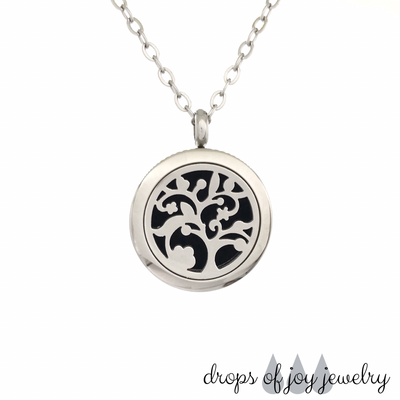 Engraved Flowering Tree Diffuser Necklace