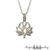 Pearl Lotus Diffuser Necklace - Your Choice Stone