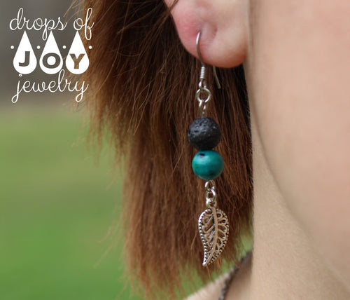 Diffuser Earrings - Lave Stone Leaf (Stone Options) - Drops of Joy Jewelry - 10