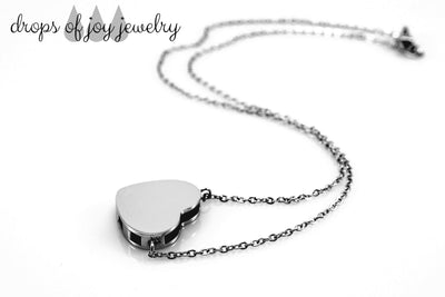 Modern Heart Diffuser Necklace - Silver