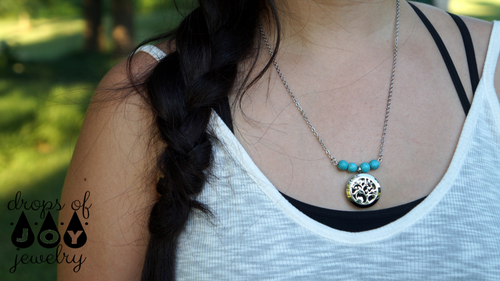 Diffuser Necklace - Turquoise Tree of Life - Drops of Joy Jewelry - 2