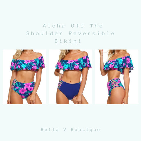 Bella V Boutique Two Piece High Waisted Topical Swimsuit