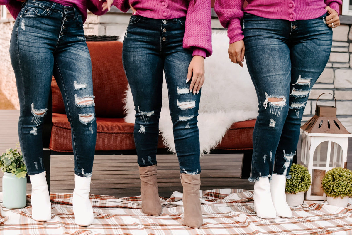 Bella V Boutique Denim Distressed Jeans