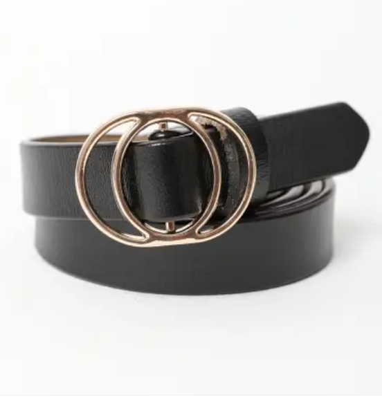 Coco Double Ring Buckle Belt (Black)