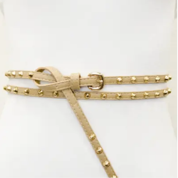 Hey Stud Double Wrap Skinny Belt (Taupe)