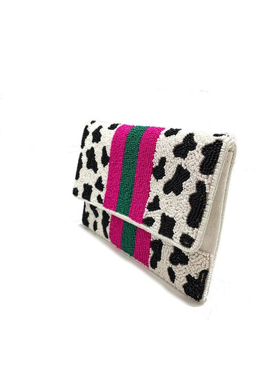 Bella V Boutique Beaded Animal Print Crossbody Bag