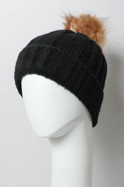 Bella V Boutique Soft Black Faux Fur Pom Beanie
