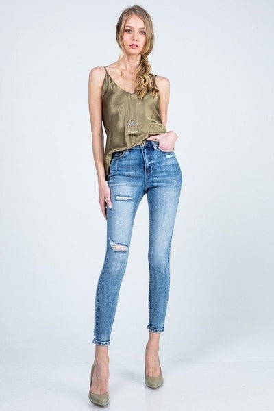 Bella V Boutique Distressed Raw Hem Denim