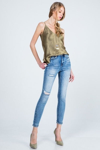 Bella V Boutique Distressed Raw Hem Jeans