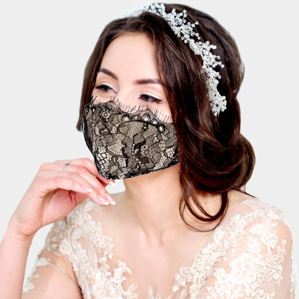 Amanda Lace Adjustable Face Mask (Black)