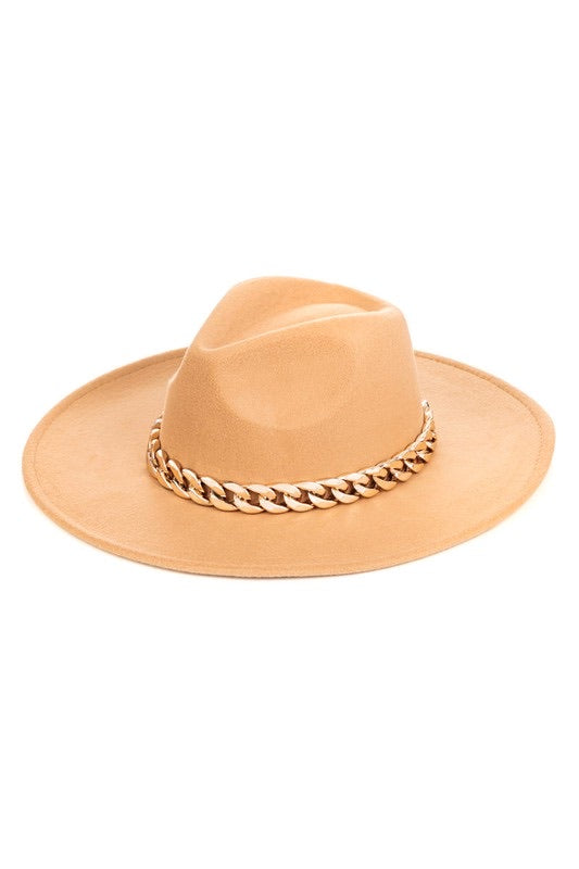 Antonia Medium Brim Chain Hat (Tan)