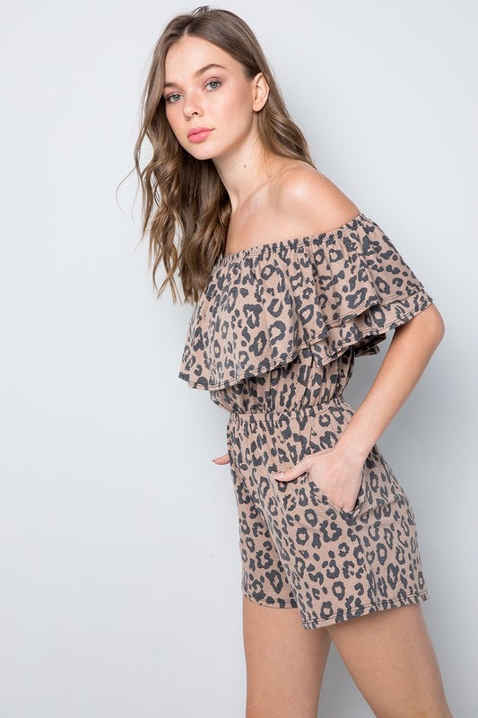 Bella V Boutique Ruffle Off The Shoulder Leopard Romper with Side Pockets