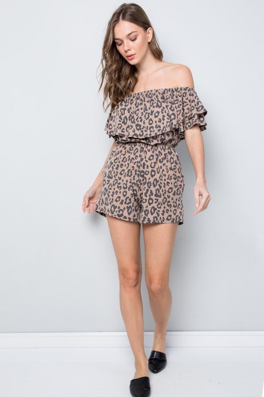 Bella V Boutique Comfortable and Stretchy Leopard Ruffle Romper